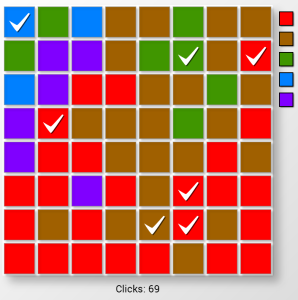 Screenshot of the game Cell during the late stages of the game.