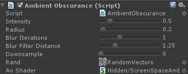 Ambient occlusion shader settings