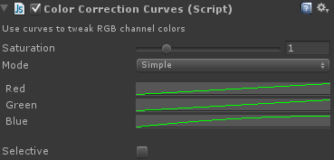 colour correction shader settings