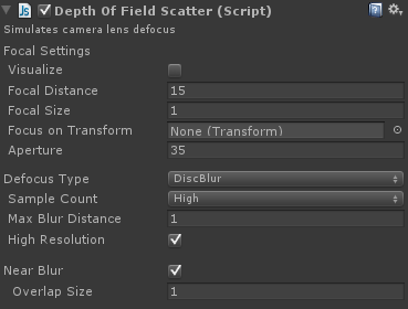 depth of field shader settings