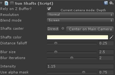 sun shaft shader settings