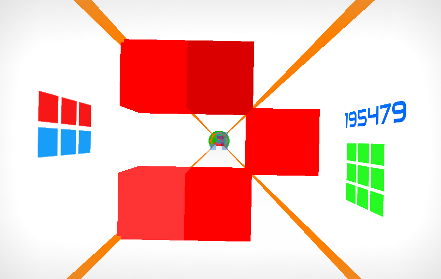 Hyper Gauntlet flying through red blocks
