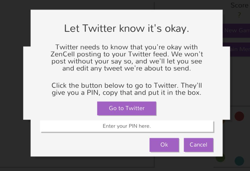 Twitter authentication screen